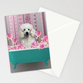 Poodle in Bathtub with Lotos Flowers Stationery Cards