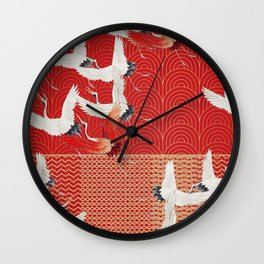 FLYING CRANES Wall Clock