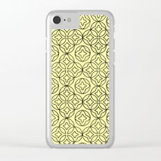 Ancient Pattern Illustration in Honey Yellow Clear iPhone Case