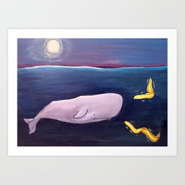 Whale with Friends Series - Eels Art Print