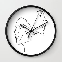 Line art, Line Art Abstract, Continuous Line, Drawing of Set Faces And Hairstyle, Line art Wall Clock