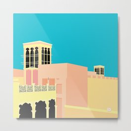 Wind-towers of Bastakiya by Dubai Doodles 007 Metal Print