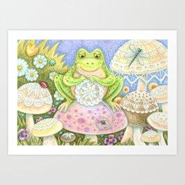 DOILIES MAKE A HOPPY HOME - Brack Whimsical Frog Art Print