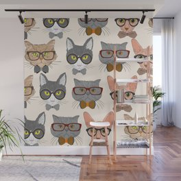 GEEK FUNNY CATS Wall Mural