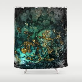 Gold Indigo Malachite Marble Shower Curtain