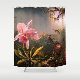 Martin Johnson Heade Cattleya Orchid and Three Brazilian Hummingbirds Shower Curtain