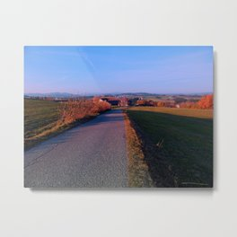 Country road into indian summer sundown | landscape photography Metal Print