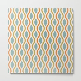 Retro Ogee Pattern 444 Blue Orange and Olive Metal Print