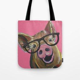 Pink Pig Painting, Cute Farm Animal Tote Bag