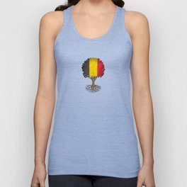 Vintage Tree of Life with Flag of Belgium Unisex Tank Top