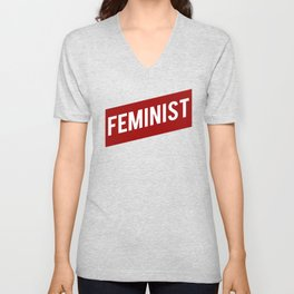 FEMINIST RED WHITE BANNER Unisex V-Neck