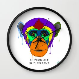 Be yourself, be different - chimpanzee Wall Clock
