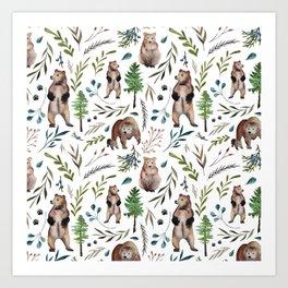 Bears, trees, and leaves pattern Art Print