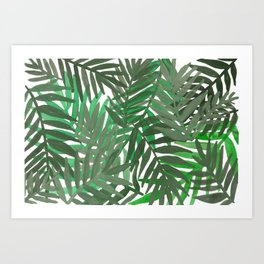 Tropical leaves : Green grey Art Print