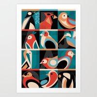 calendar 2015 Art Prints featuring Geometric Bird 2015 Calendar by Marcella Caraballo