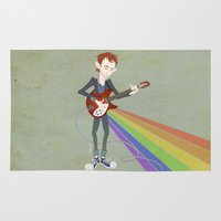 radiohead Area & Throw Rugs featuring Radiohead Thom in Rainbows by AnaMF