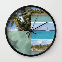 Caribbean Travel Vacation Photo Collage Wall Clock
