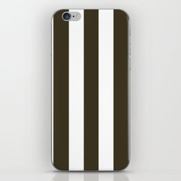 Olive Drab #7 brown - solid color - white vertical lines pattern iPhone Skin