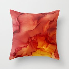 Red Sunset Abstract Ink Painting Red Orange Yellow Flame Throw Pillow