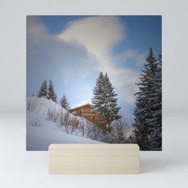 Chalet mountain cloud Mini Art Print