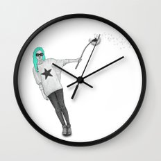 Girl with dandelion Wall Clock