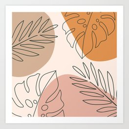 Abstract Nature Leaf Minimalist Print Art Print
