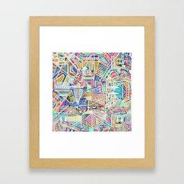 Geometric Abstract Lines Labirinth  Framed Art Print