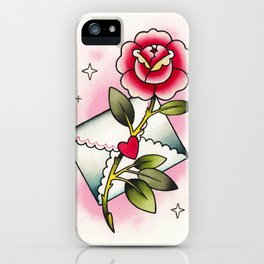 Love Letter & Rose Tattoo Flash by tinybunnybones iPhone Case