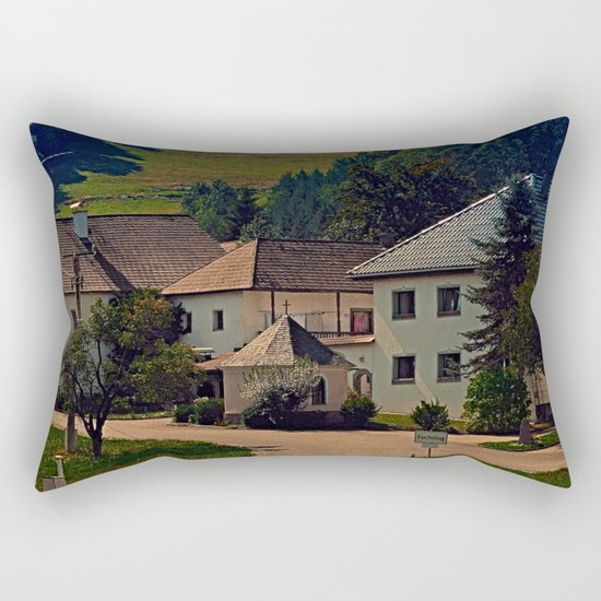 Small village in autumn scenery Rectangular Pillow