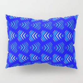 Pattern of intersecting hearts and stripes on a blue background. Pillow Sham
