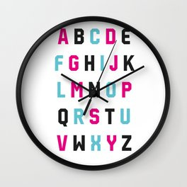 Typography Alphabet #1 Wall Clock