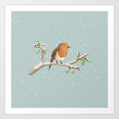Robin on Branch Art Print