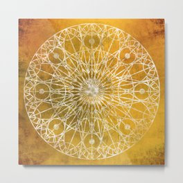 Rosette Window - Yellow Metal Print