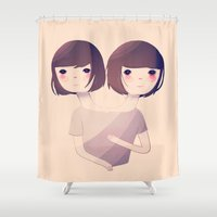 nan lawson Shower Curtains featuring Sisters by Nan Lawson