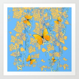 BABY BLUE ABSTRACT  IVY VINES & YELLOW BUTTERFLIES Art Print