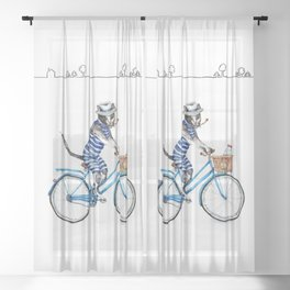 Cat on a Blue Bicycle Sheer Curtain