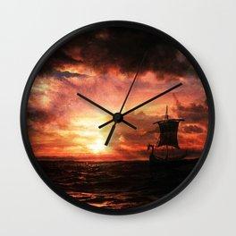 Viking Ship sunset painting by Alex Kerr Wall Clock