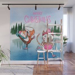 Merry Christmas from Cat and Fox Wall Mural