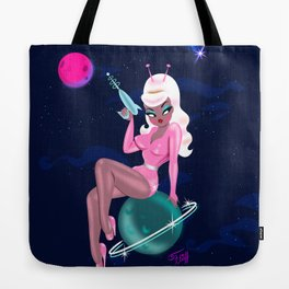 Galactic Glamour Girl with Ray Gun Tote Bag
