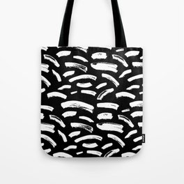 Foundry Abstract Brush Strokes White on Black Tote Bag