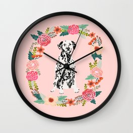 dalmatian dog floral wreath dog gifts pet portraits Wall Clock