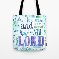 bible verse Tote Bags featuring Purple and Blue Bible Verse by SilviaGarciaArt