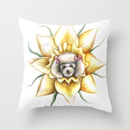 Poodle Dafodil by Nefertara Throw Pillow