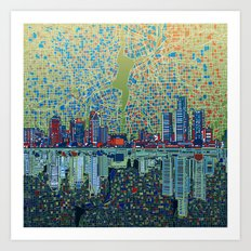 detroit city skyline Art Print