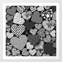 Love Hearts Doodle Art Pattern Art Print