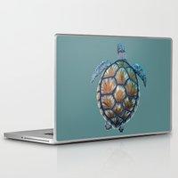 sea turtle Laptop & iPad Skins featuring Turtle by Elise Cayouette