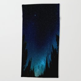 Black Trees Turquoise Milky Way Stars Beach Towel