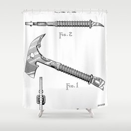 Firemans Axe Patent - Fire Fighter Art - Black And White Shower Curtain