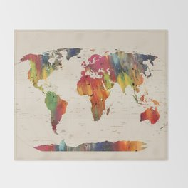 ALLOVER THE WORLD-Painted map Throw Blanket