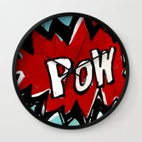 comic book Wall Clocks featuring Comic Book: Pow! by Ed Pires